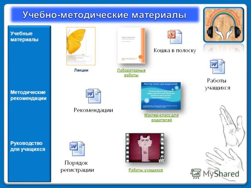 Учебные материалы Методические рекомендации Руководство для учащихся Мастер-класс для родителей ЛекцииЛабораторные работы Работы учащихся