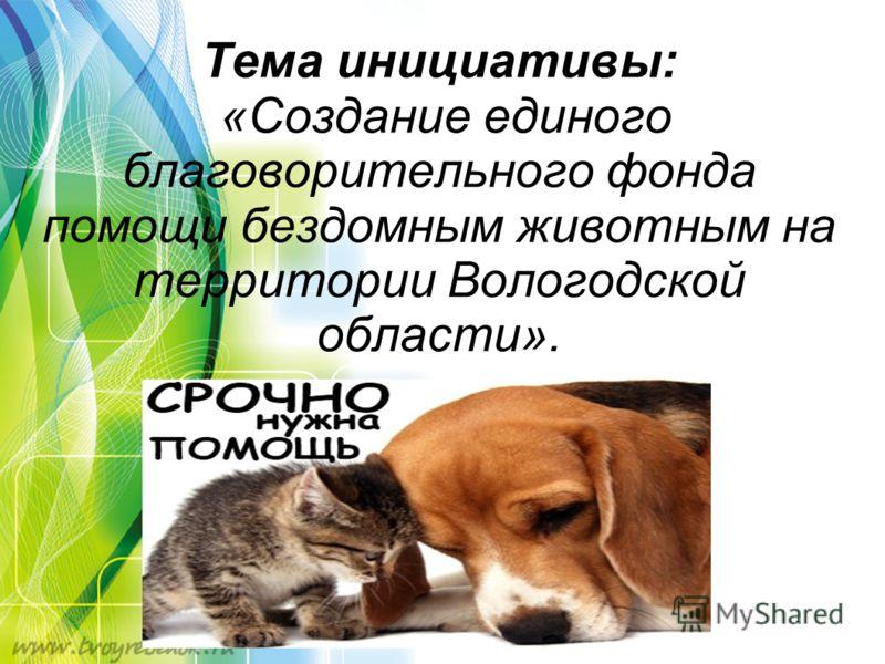 Тема инициативы: «Создание единого благоворительного фонда помощи бездомным животным на территории Вологодской области».