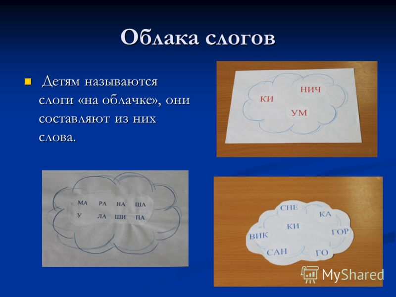 Облака слогов Детям называются слоги «на облачке», они составляют из них слова. Детям называются слоги «на облачке», они составляют из них слова.