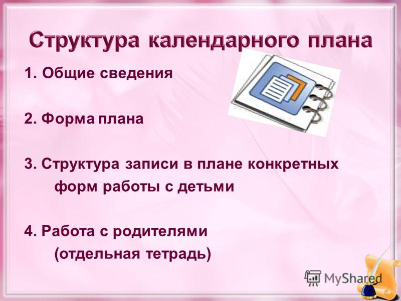 1. Общие сведения 2. Форма плана 3. Структура записи в плане конкретных форм работы с детьми 4. Работа с родителями (отдельная тетрадь)