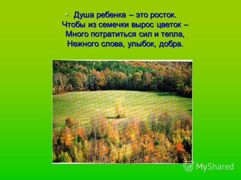 Душа ребенка – это росток. Чтобы из семечки вырос цветок – Много потратиться сил и тепла, Нежного слова, улыбок, добра. Душа ребенка – это росток. Чтобы из семечки вырос цветок – Много потратиться сил и тепла, Нежного слова, улыбок, добра.