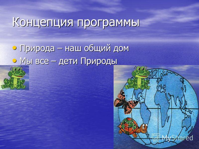 Концепция программы Природа – наш общий дом Природа – наш общий дом Мы все – дети Природы Мы все – дети Природы