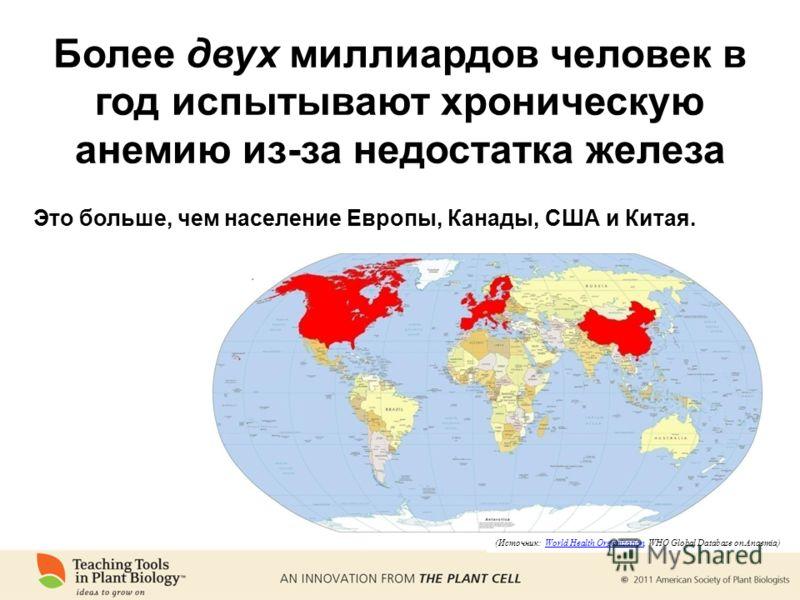 Это больше, чем население Европы, Канады, США и Китая. (Источник: World Health Organization, WHO Global Database on Anaemia)World Health Organization Более двух миллиардов человек в год испытывают хроническую анемию из-за недостатка железа