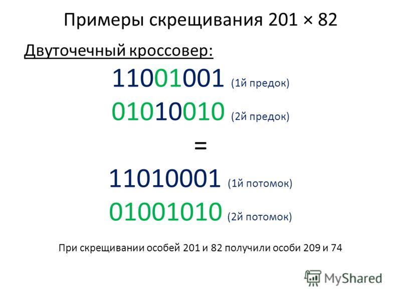 Примеры скрещивания 201 × 82 Двуточечный кроссовер: 11001001 (1й предок) 01010010 (2й предок) = 11010001 (1й потомок) 01001010 (2й потомок) При скрещивании особей 201 и 82 получили особи 209 и 74