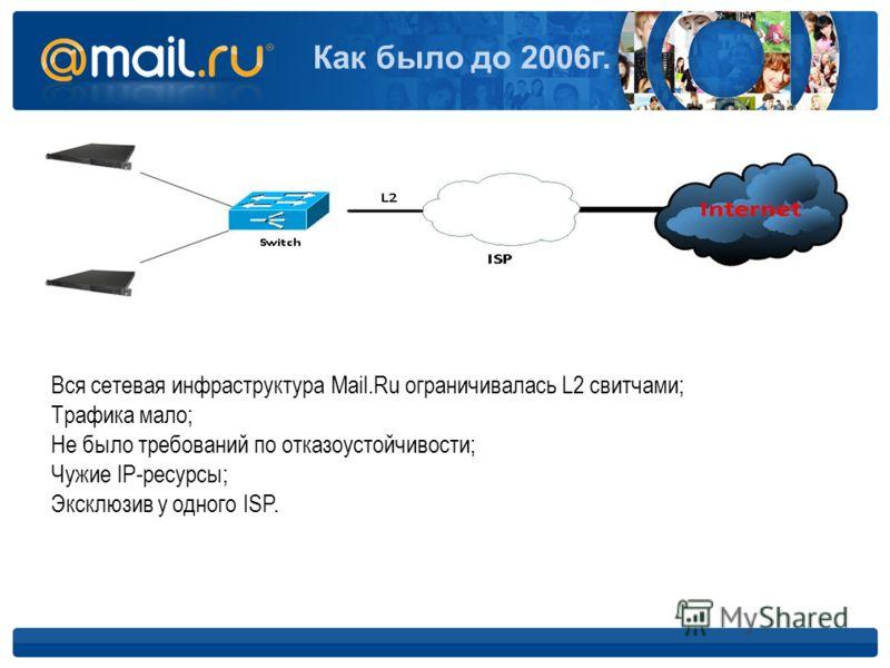 Как было до 2006г. Вся сетевая инфраструктура Mail.Ru ограничивалась L2 свитчами; Трафика мало; Не было требований по отказоустойчивости; Чужие IP-ресурсы; Эксклюзив у одного ISP.
