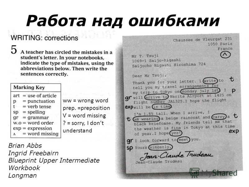 Работа над ошибками Brian Abbs Ingrid Freebairn Blueprint Upper Intermediate Workbook Longman ww = wrong word prep. =preposition Ѵ = word missing ? = sorry, I dont understand
