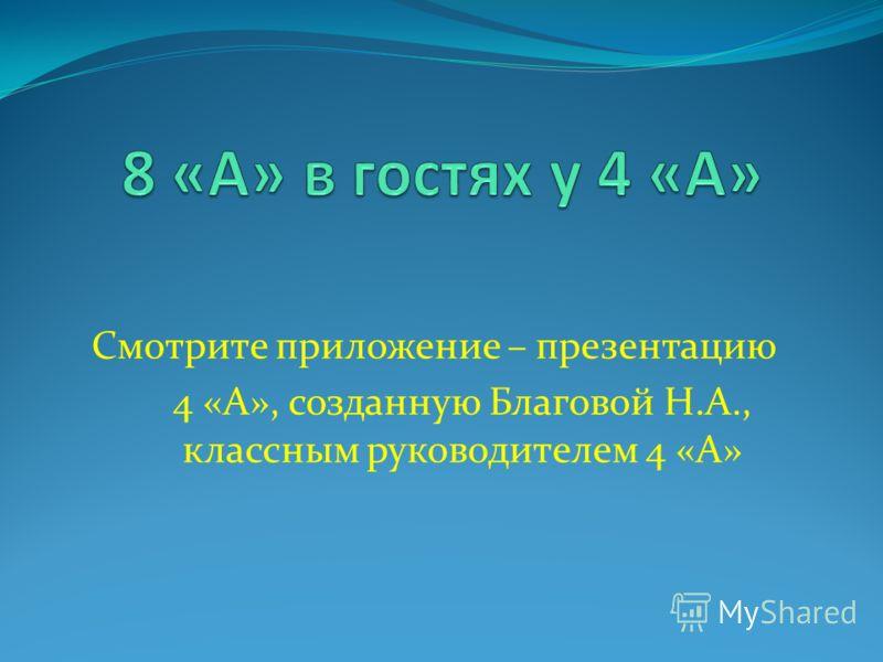 Смотрите приложение – презентацию 4 «А», созданную Благовой Н.А., классным руководителем 4 «А»