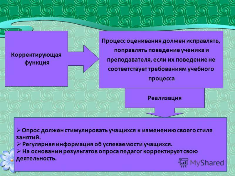 Корректирующая функция Процесс оценивания должен исправлять, поправлять поведение ученика и преподавателя, если их поведение не соответствует требованиям учебного процесса Реализация Опрос должен стимулировать учащихся к изменению своего стиля заняти