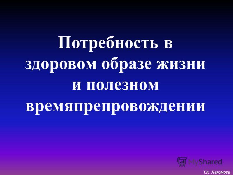 Потребность в здоровом образе жизни и полезном времяпрепровождении Т.К. Лакомова