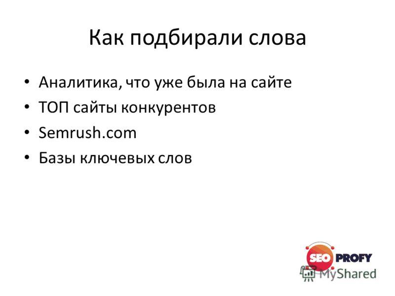 Как подбирали слова Аналитика, что уже была на сайте ТОП сайты конкурентов Semrush.com Базы ключевых слов