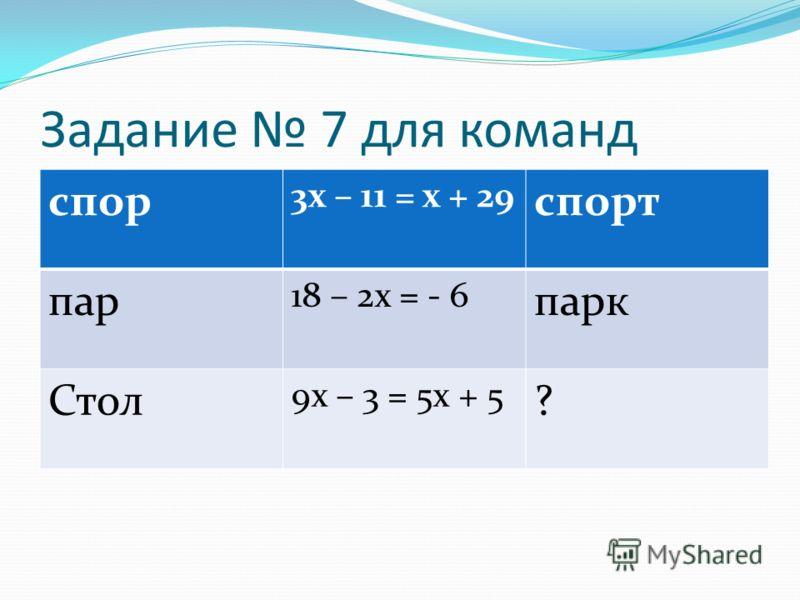 Задание 7 для команд спор 3х – 11 = х + 29 спорт пар 18 – 2х = - 6 парк Стол 9х – 3 = 5х + 5 ?