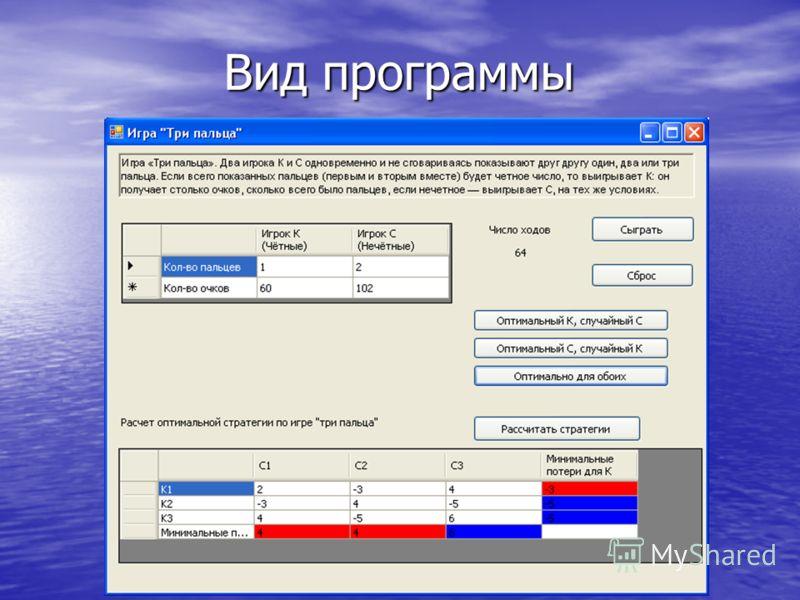 Вид программы Вид программы