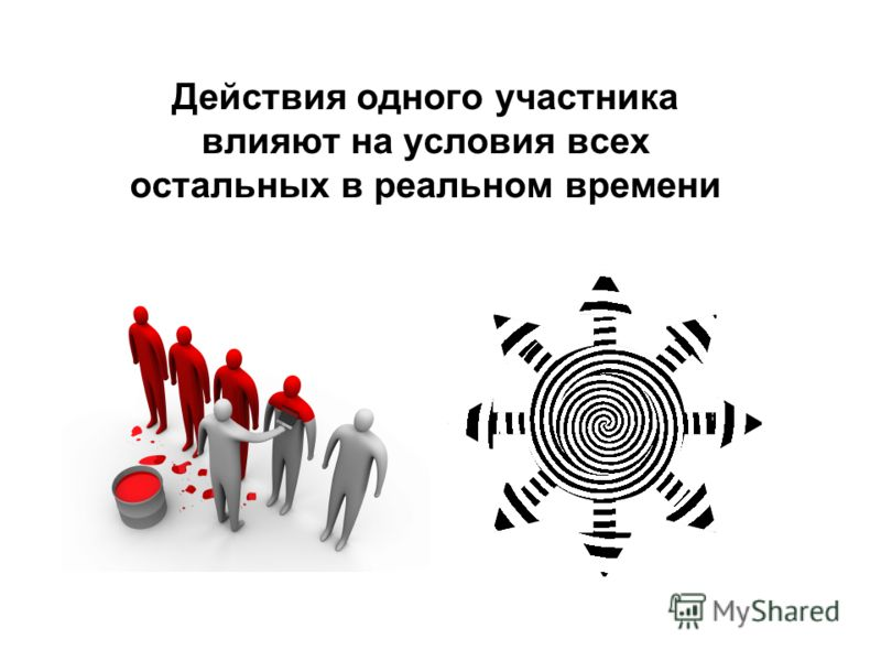 Действия одного участника влияют на условия всех остальных в реальном времени