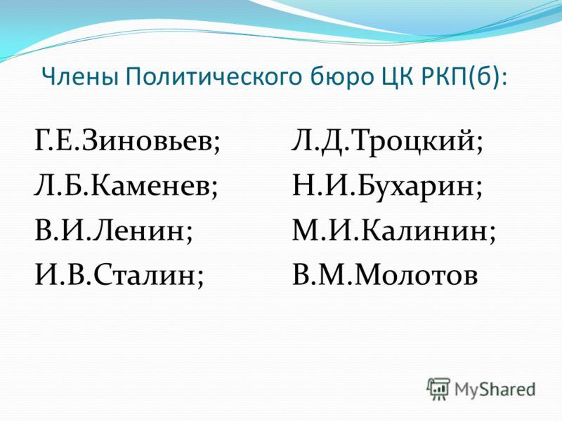 Члены Политического бюро ЦК РКП(б): Г.Е.Зиновьев; Л.Б.Каменев; В.И.Ленин; И.В.Сталин; Л.Д.Троцкий; Н.И.Бухарин; М.И.Калинин; В.М.Молотов