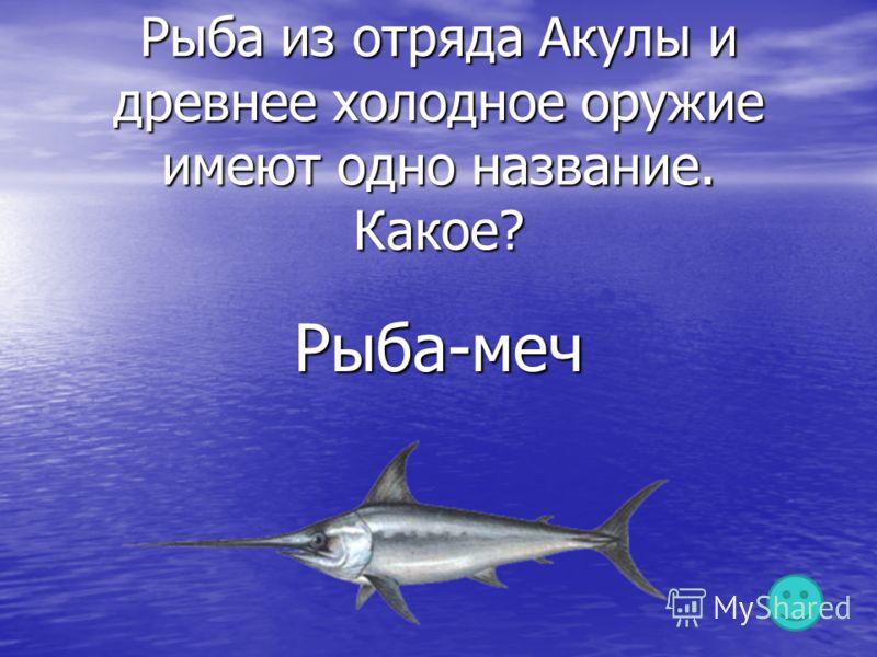 Рыба из отряда Акулы и древнее холодное оружие имеют одно название. Какое? Рыба-меч