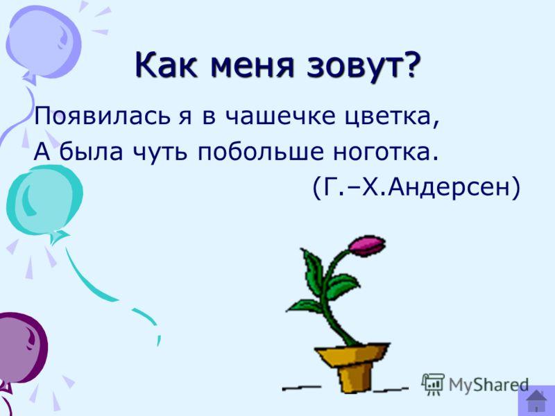 Как меня зовут? Появилась я в чашечке цветка, А была чуть побольше ноготка. (Г.–Х.Андерсен)