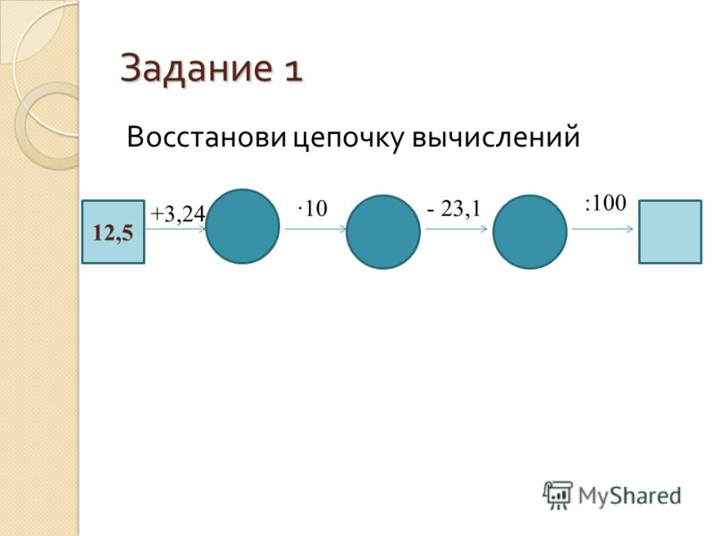 Задание 1 Восстанови цепочку вычислений 12,5 +3,24 10- 23,1 :100