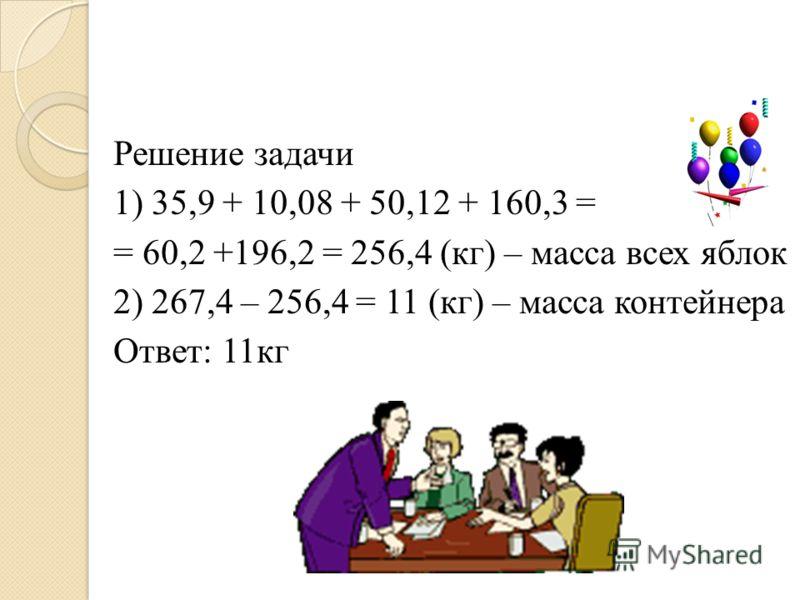 Решение задачи 1) 35,9 + 10,08 + 50,12 + 160,3 = = 60,2 +196,2 = 256,4 (кг) – масса всех яблок 2) 267,4 – 256,4 = 11 (кг) – масса контейнера Ответ: 11кг