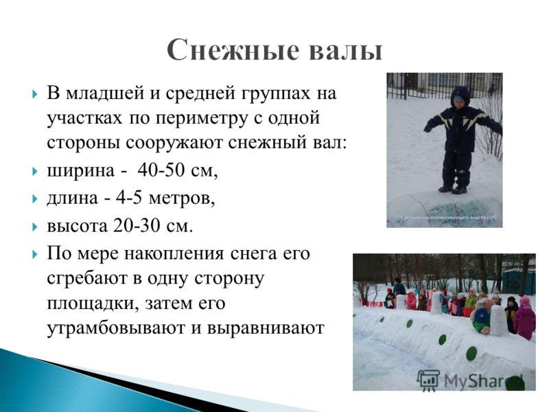 В младшей и средней группах на участках по периметру с одной стороны сооружают снежный вал: ширина - 40-50 см, длина - 4-5 метров, высота 20-30 см. По мере накопления снега его сгребают в одну сторону площадки, затем его утрамбовывают и выравнивают