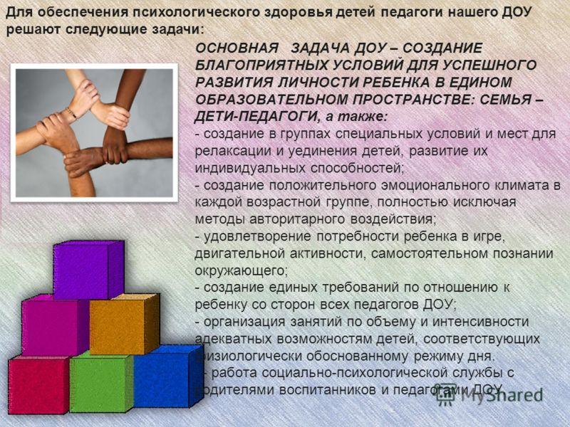 ОСНОВНАЯ ЗАДАЧА ДОУ – СОЗДАНИЕ БЛАГОПРИЯТНЫХ УСЛОВИЙ ДЛЯ УСПЕШНОГО РАЗВИТИЯ ЛИЧНОСТИ РЕБЕНКА В ЕДИНОМ ОБРАЗОВАТЕЛЬНОМ ПРОСТРАНСТВЕ: СЕМЬЯ – ДЕТИ-ПЕДАГОГИ, а также: - создание в группах специальных условий и мест для релаксации и уединения детей, разв