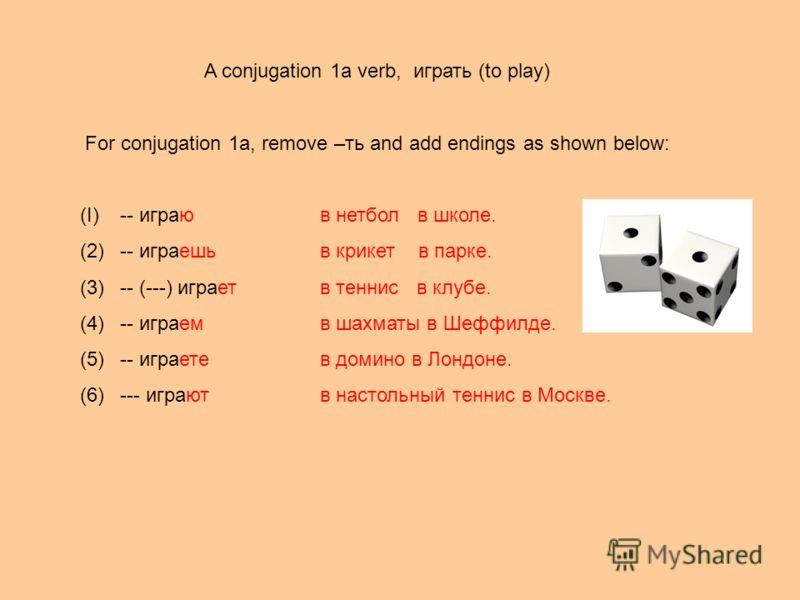 A conjugation 1a verb, играть (to play) For conjugation 1a, remove –ть and add endings as shown below: (I)-- играюв нетбол в школе. (2)-- играешь в крикет в парке. (3)-- (---) играетв теннис в клубе. (4)-- играем в шахматы в Шеффилде. (5)-- играете в