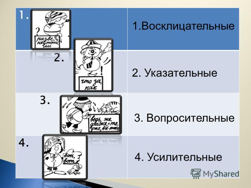 1. 2. 3. 4. 1.Восклицательные 2. Указательные 3. Вопросительные 4. Усилительные