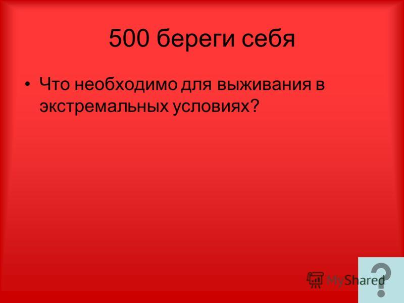 500 береги себя Что необходимо для выживания в экстремальных условиях?