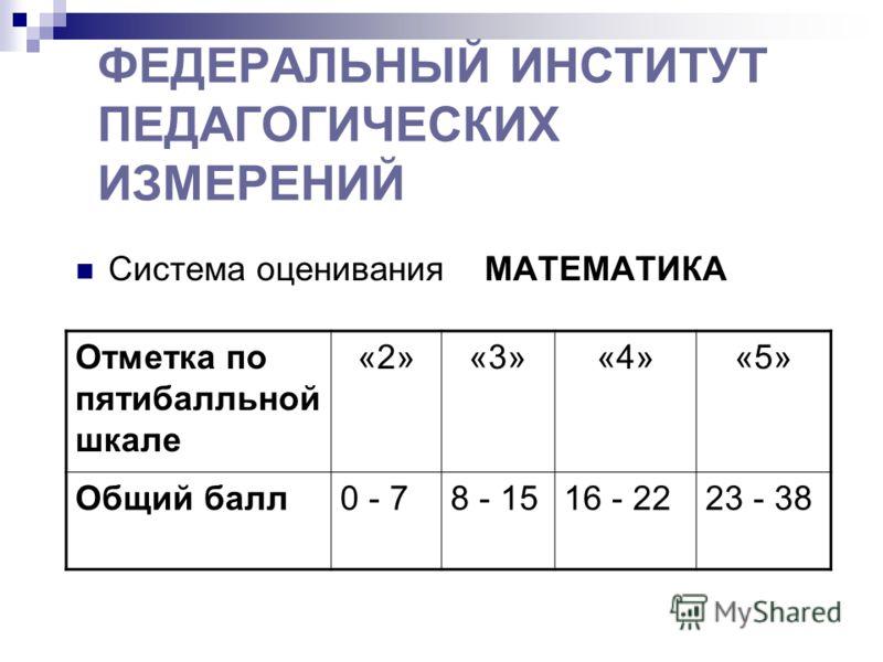 ФЕДЕРАЛЬНЫЙ ИНСТИТУТ ПЕДАГОГИЧЕСКИХ ИЗМЕРЕНИЙ Система оценивания МАТЕМАТИКА Отметка по пятибалльной шкале «2»«3»«4»«5» Общий балл0 - 78 - 1516 - 2223 - 38
