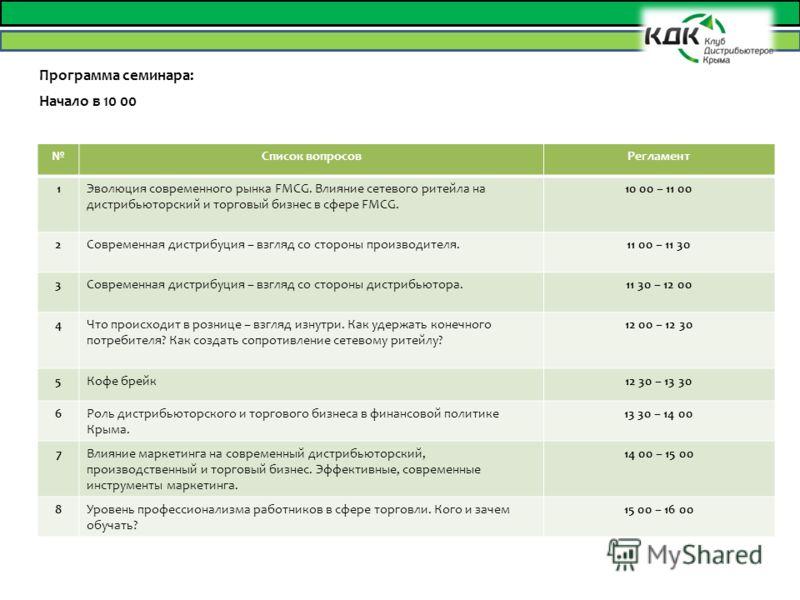 Программа семинара: Начало в 10 00 Список вопросовРегламент 1Эволюция современного рынка FMCG. Влияние сетевого ритейла на дистрибьюторский и торговый бизнес в сфере FMCG. 10 00 – 11 00 2Современная дистрибуция – взгляд со стороны производителя.11 00