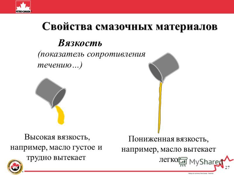 27 (показатель сопротивления течению…) Высокая вязкость, например, масло густое и трудно вытекает Пониженная вязкость, например, масло вытекает легко Свойства смазочных материалов Свойства смазочных материалов Вязкость