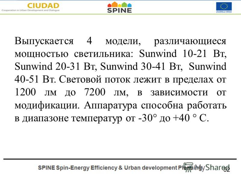 Выпускается 4 модели, различающиеся мощностью светильника: Sunwind 10-21 Вт, Sunwind 20-31 Вт, Sunwind 30-41 Вт, Sunwind 40-51 Вт. Световой поток лежит в пределах от 1200 лм до 7200 лм, в зависимости от модификации. Аппаратура способна работать в диа