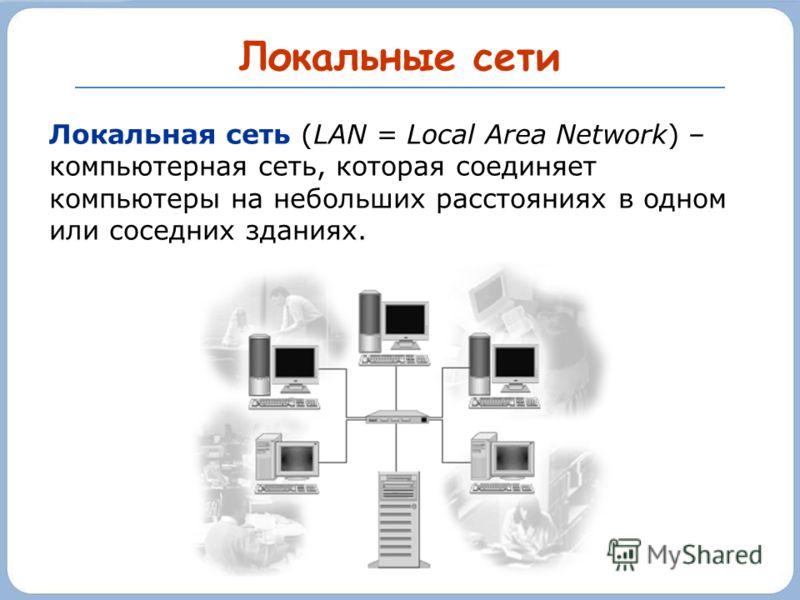 Локальные сети Локальная сеть (LAN = Local Area Network) – компьютерная сеть, которая соединяет компьютеры на небольших расстояниях в одном или соседних зданиях.