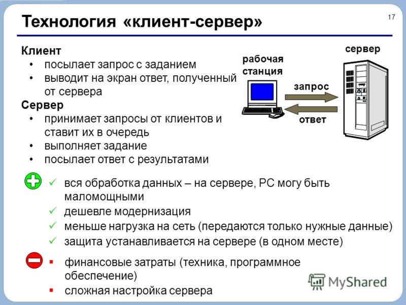 17 Технология «клиент-сервер» Клиент посылает запрос с заданием выводит на экран ответ, полученный от сервера Сервер принимает запросы от клиентов и ставит их в очередь выполняет задание посылает ответ с результатами вся обработка данных – на сервере