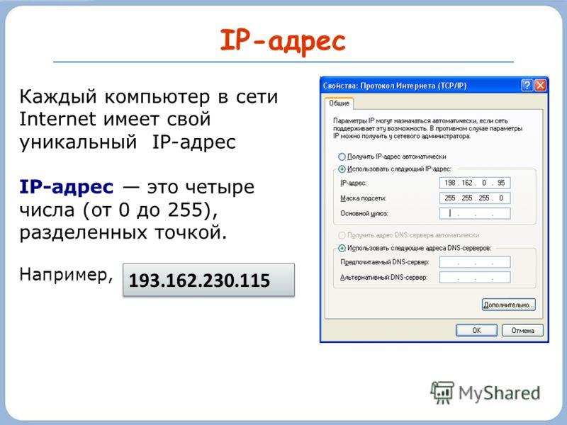IP-адрес Каждый компьютер в сети Internet имеет свой уникальный IP-адрес IP-адрес это четыре числа (от 0 до 255), разделенных точкой. Например, 193.162.230.115