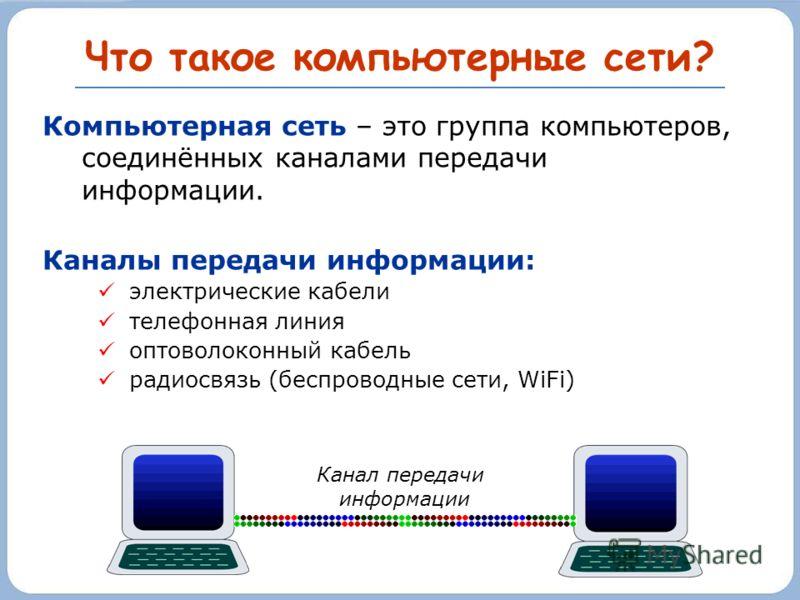 Что такое компьютерные сети? Компьютерная сеть – это группа компьютеров, соединённых каналами передачи информации. Каналы передачи информации: электрические кабели телефонная линия оптоволоконный кабель радиосвязь (беспроводные сети, WiFi) Канал пере