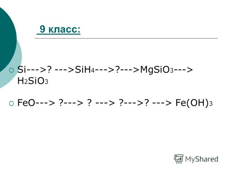9 класс: Si--->? --->SiH 4 --->?--->MgSiO 3 ---> H 2 SiO 3 FeO---> ?---> ? ---> ?--->? ---> Fe(OH) 3