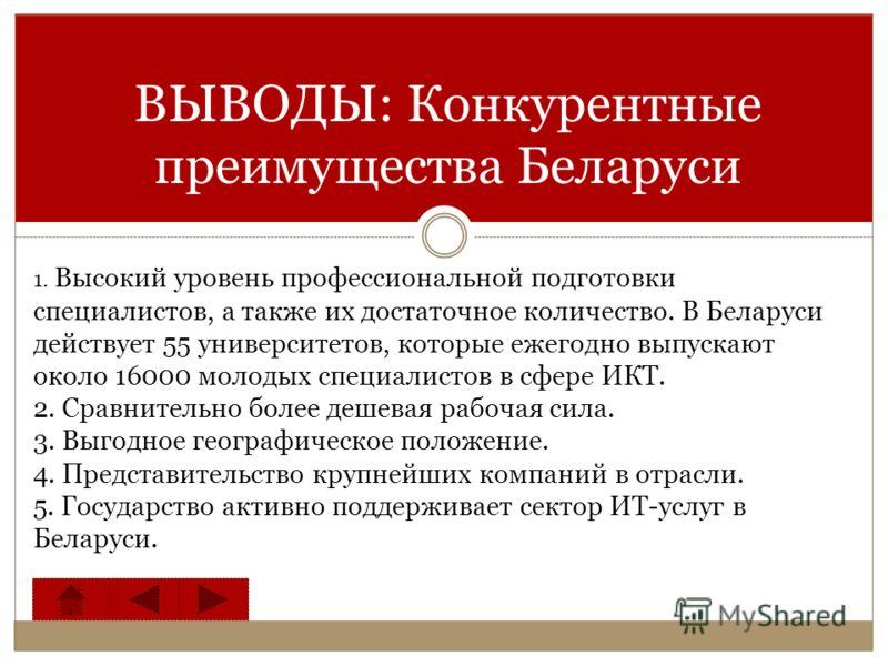 ВЫВОДЫ: Конкурентные преимущества Беларуси 1. Высокий уровень профессиональной подготовки специалистов, а также их достаточное количество. В Беларуси действует 55 университетов, которые ежегодно выпускают около 16000 молодых специалистов в сфере ИКТ.