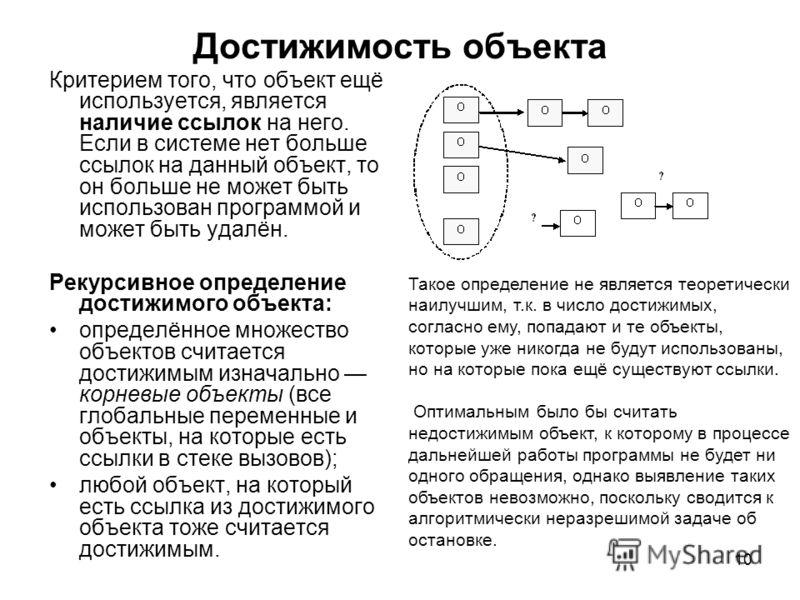 10 Достижимость объекта Критерием того, что объект ещё используется, является наличие ссылок на него. Если в системе нет больше ссылок на данный объект, то он больше не может быть использован программой и может быть удалён. Рекурсивное определение до