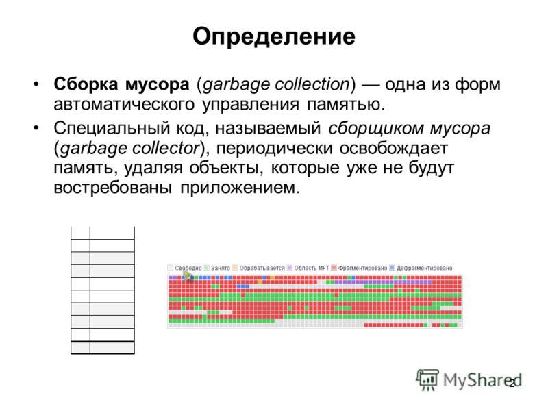 2 Определение Сборка мусора (garbage collection) одна из форм автоматического управления памятью. Специальный код, называемый сборщиком мусора (garbage collector), периодически освобождает память, удаляя объекты, которые уже не будут востребованы при