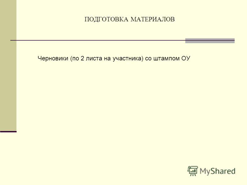 ПОДГОТОВКА МАТЕРИАЛОВ Черновики (по 2 листа на участника) со штампом ОУ
