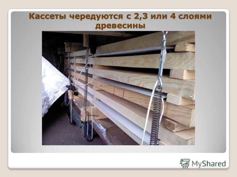 Кассеты чередуются с 2,3 или 4 слоями древесины