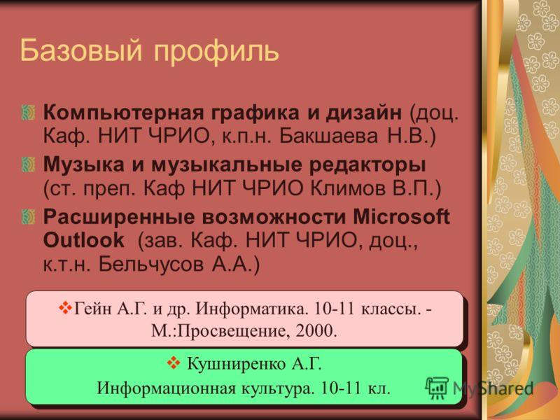 Базовый профиль Компьютерная графика и дизайн (доц. Каф. НИТ ЧРИО, к.п.н. Бакшаева Н.В.) Музыка и музыкальные редакторы (ст. преп. Каф НИТ ЧРИО Климов В.П.) Расширенные возможности Microsoft Outlook (зав. Каф. НИТ ЧРИО, доц., к.т.н. Бельчусов А.А.) Г