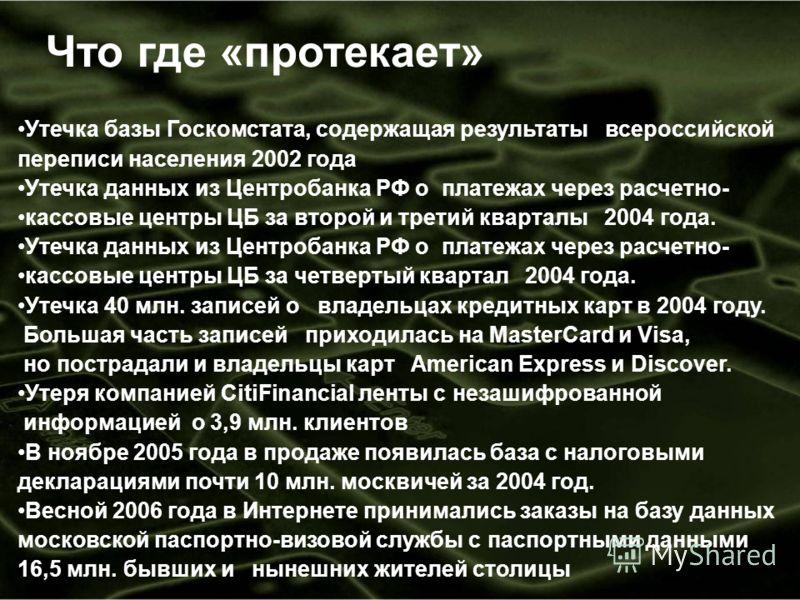 Что где «протекает» Утечка базы Госкомстата, содержащая результаты всероссийской переписи населения 2002 года Утечка данных из Центробанка РФ о платежах через расчетно- кассовые центры ЦБ за второй и третий кварталы 2004 года. Утечка данных из Центро