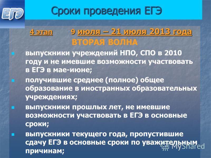 Сроки проведения ЕГЭ 4 этап 9 июля – 21 июля 2013 года 4 этап 9 июля – 21 июля 2013 года ВТОРАЯ ВОЛНА выпускники учреждений НПО, СПО в 2010 году и не имевшие возможности участвовать в ЕГЭ в мае-июне; получившие среднее (полное) общее образование в ин