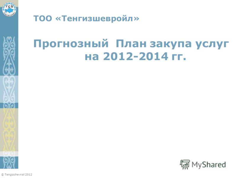 © Tengizchevroil 2012 Прогнозный План закупа услуг на 2012-2014 гг. ТОО «Тенгизшевройл»