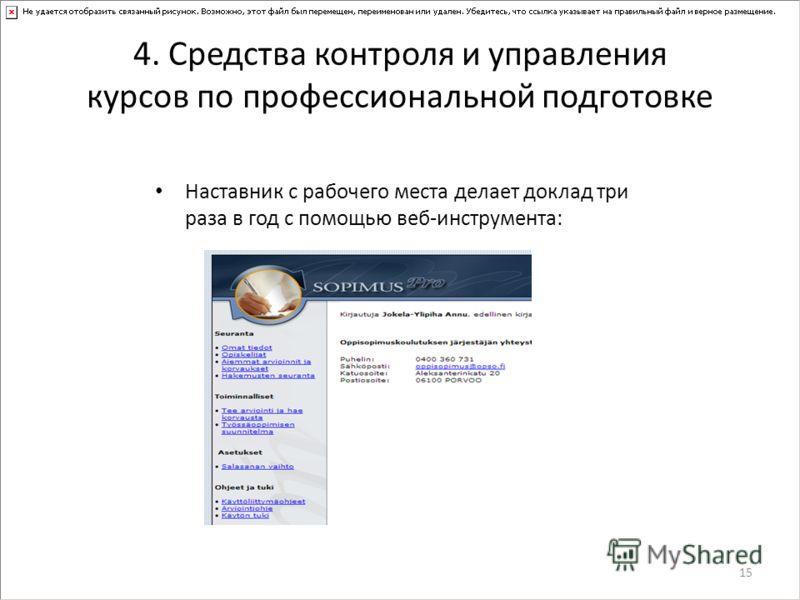 4. Средства контроля и управления курсов по профессиональной подготовке Наставник с рабочего места делает доклад три раза в год с помощью веб-инструмента: 15
