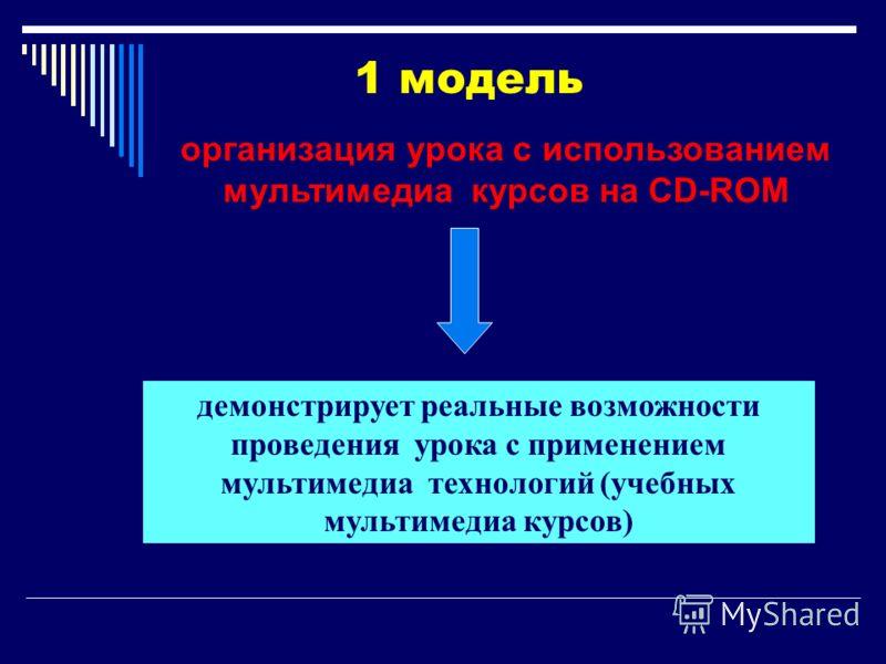демонстрирует реальные возможности проведения урока с применением мультимедиа технологий (учебных мультимедиа курсов) 1 модель организация урока с использованием мультимедиа курсов на CD-ROM