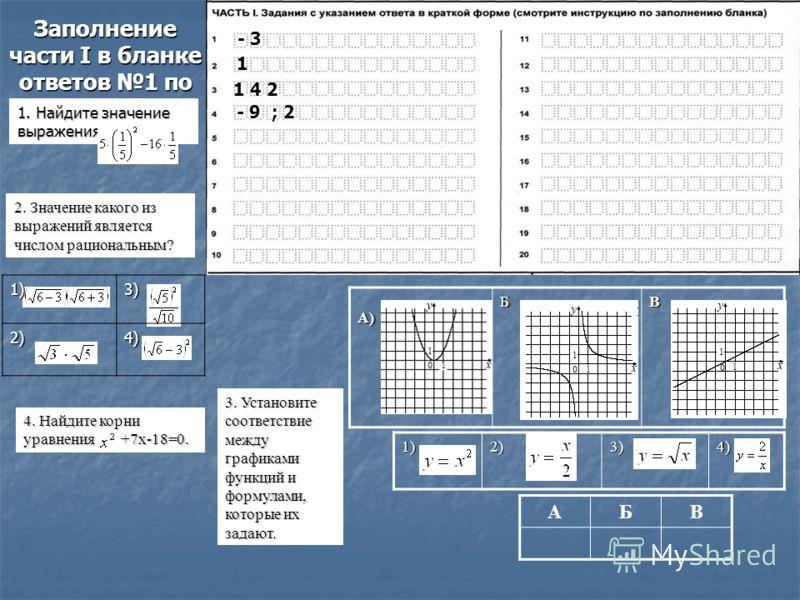 Заполнение части I в бланке ответов 1 по математике - 3 1 1 4 2 1 4 2 1. Найдите значение выражения 2. Значение какого из выражений является числом рациональным? 1)3)2)4) 4. Найдите корни уравнения x 2 +7x-18=0. - 9 ; 2 3. Установите соответствие меж
