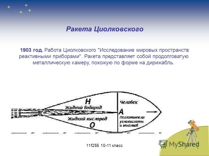 Ракета Циолковского 1903 год. Работа Циолковского Исследование мировых пространств реактивными приборами. Ракета представляет собой продолговатую металлическую камеру, похожую по форме на дирижабль. 11f255 10-11 класс