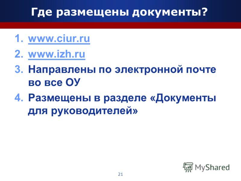 Где размещены документы? 1.www.ciur.ruwww.ciur.ru 2.www.izh.ruwww.izh.ru 3.Направлены по электронной почте во все ОУ 4.Размещены в разделе «Документы для руководителей» 21